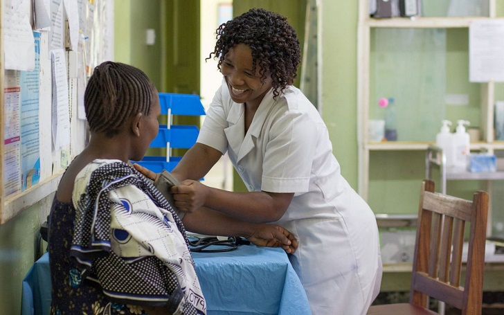 Woman undergoing medical check-up