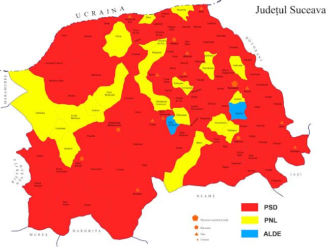 Harta rezultatelor alegerilor parlamentare 2016 în județul Suceava