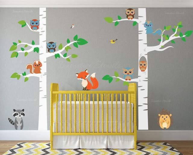 Birch Tree Wall Decal Forest with Owl Birds Squirrels Fox Porcupine Racoon Vinyl Sticker