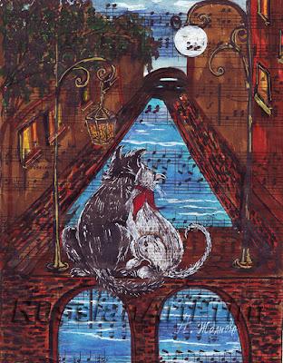Иллюстрация с котиками Лунная соната