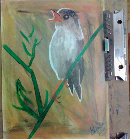 """Bird on branch"" sketch by Gloria Poole; yr 2012"