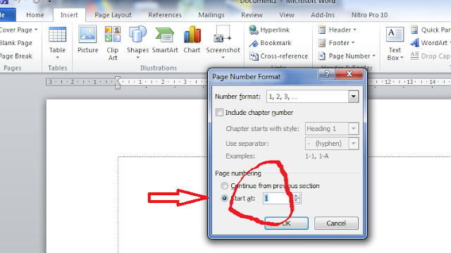 change the page number in ms word