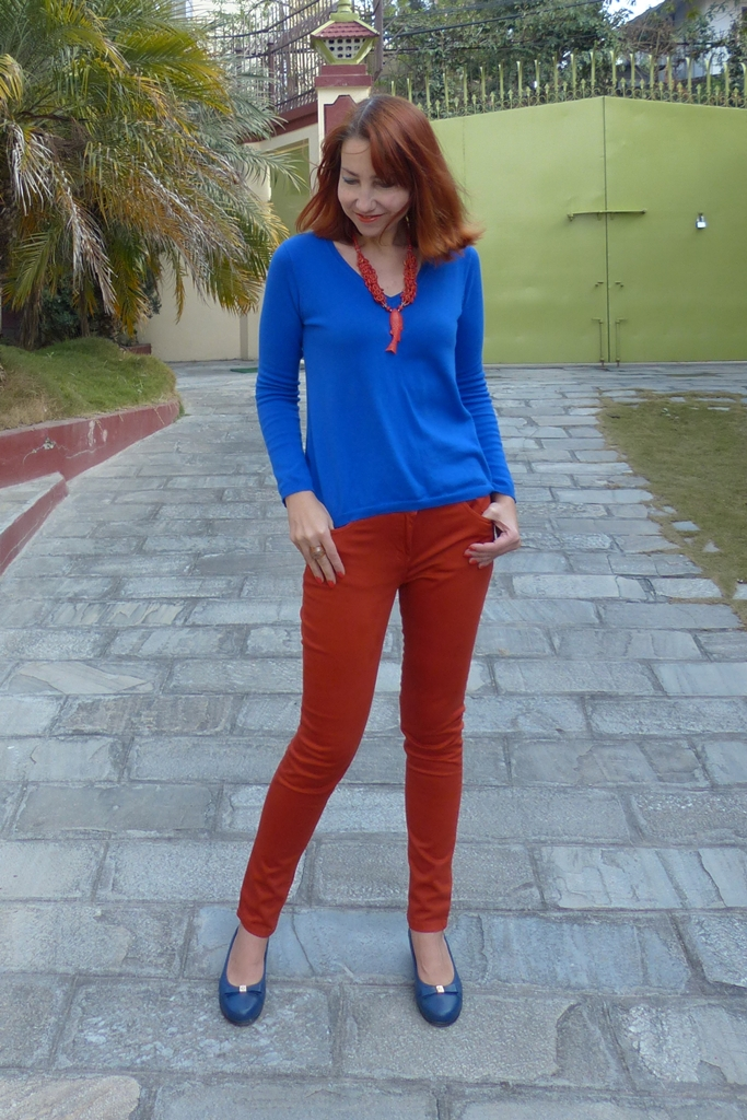 Orange and blue casual outfit