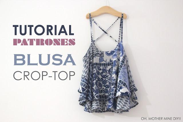 DIY Tutorial y patrones camiseta camisa Blusa Mini Croptop
