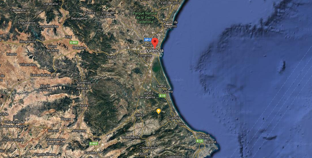 Aerial relief map of the province of Valencia, Spain