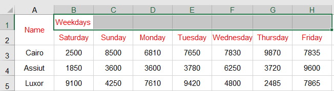 دمج الخلايا في Excel