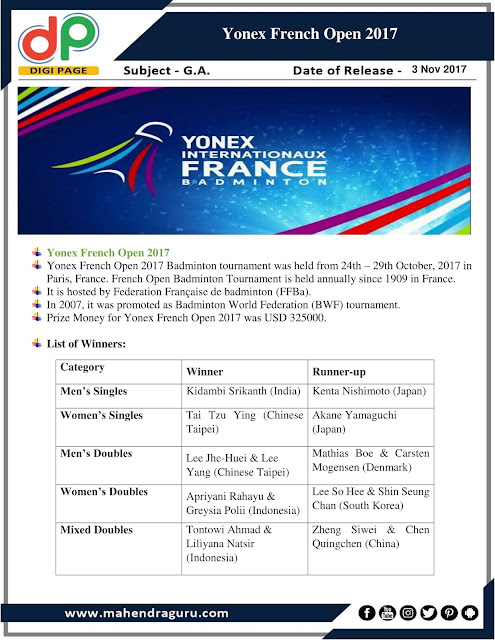 DP | IBPS RRB PO Mains Special : Yonex French Open 2017 |  03 - Nov - 2017