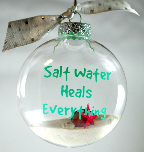 Handmade Beach Ornament with Ocean Quote