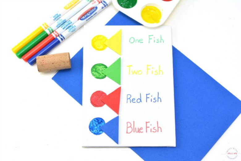 Dr Seuss Activities for Toddlers - one fish two fish red fish blue fish craft