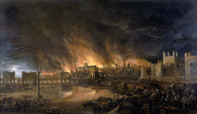 Painting from the 1700s of the Great Fire of London