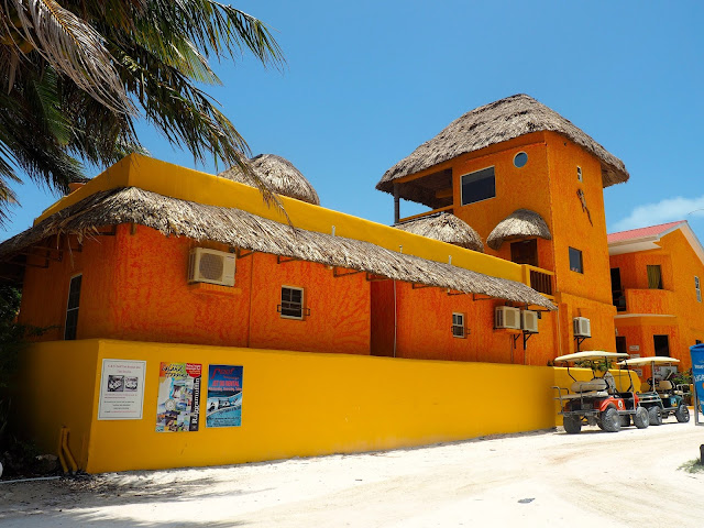 Colourful orange building on Caye Caulker, Belize