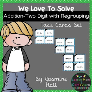 https://www.teacherspayteachers.com/Product/halfoffhalftime-We-Love-To-Solve-Addition-Two-Digit-Regrouping-Task-Cards-2-2999388