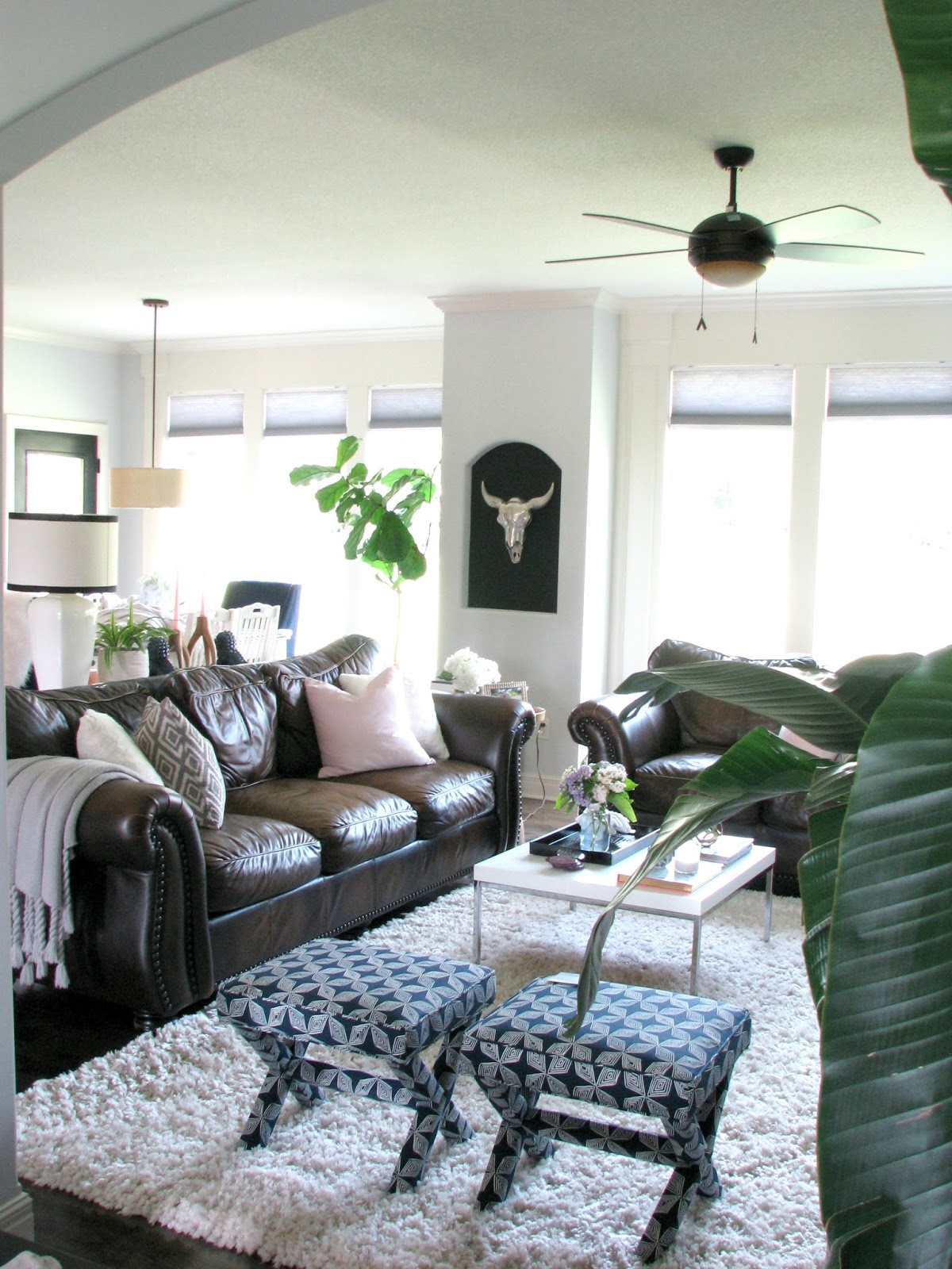 How To Decorate A Family Room With Dark Brown Couches Life Love Larson Decorating Around Dark Leather Sofas