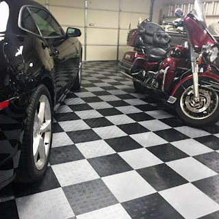 Greatmats garage flooring with motorcycle and car