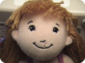 Rag doll with stitched cleft lip surgery scar by Cairdeas Doll