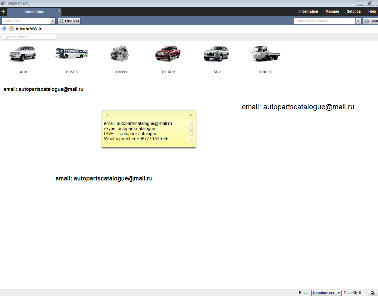 Isuzu Worldwide Epc Parts Catalog 032018 Autopartscatalogue Fvz Wiring Diagram Price Private Message