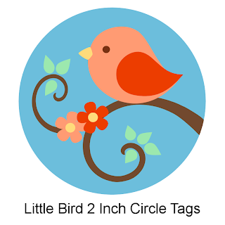 little bird circle tags to print