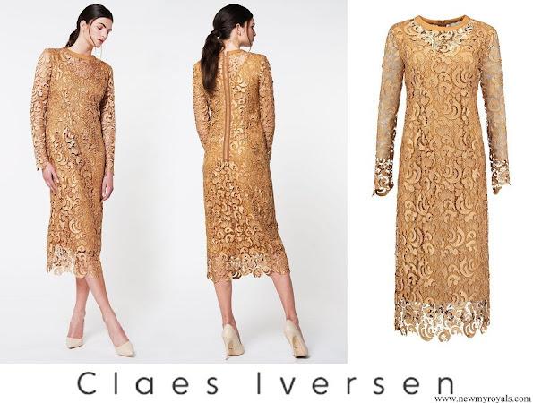 Queen Maxima wore Claes Iversen serva elegant lace midi dress in tobacco brown