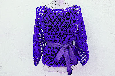 Blusa lila Majovel Crochet ganchillo