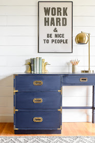 Navy blue MCM campaign desk makeover