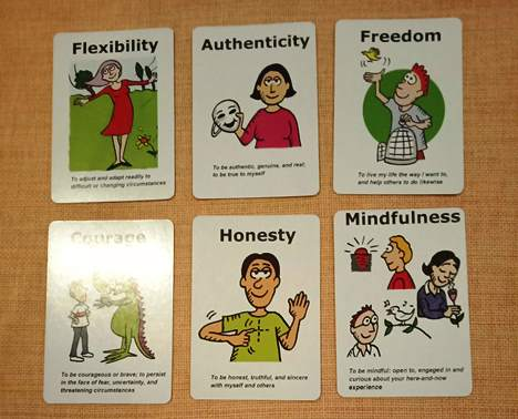 Determining my six core values from the ACT Mindfully Values card deck