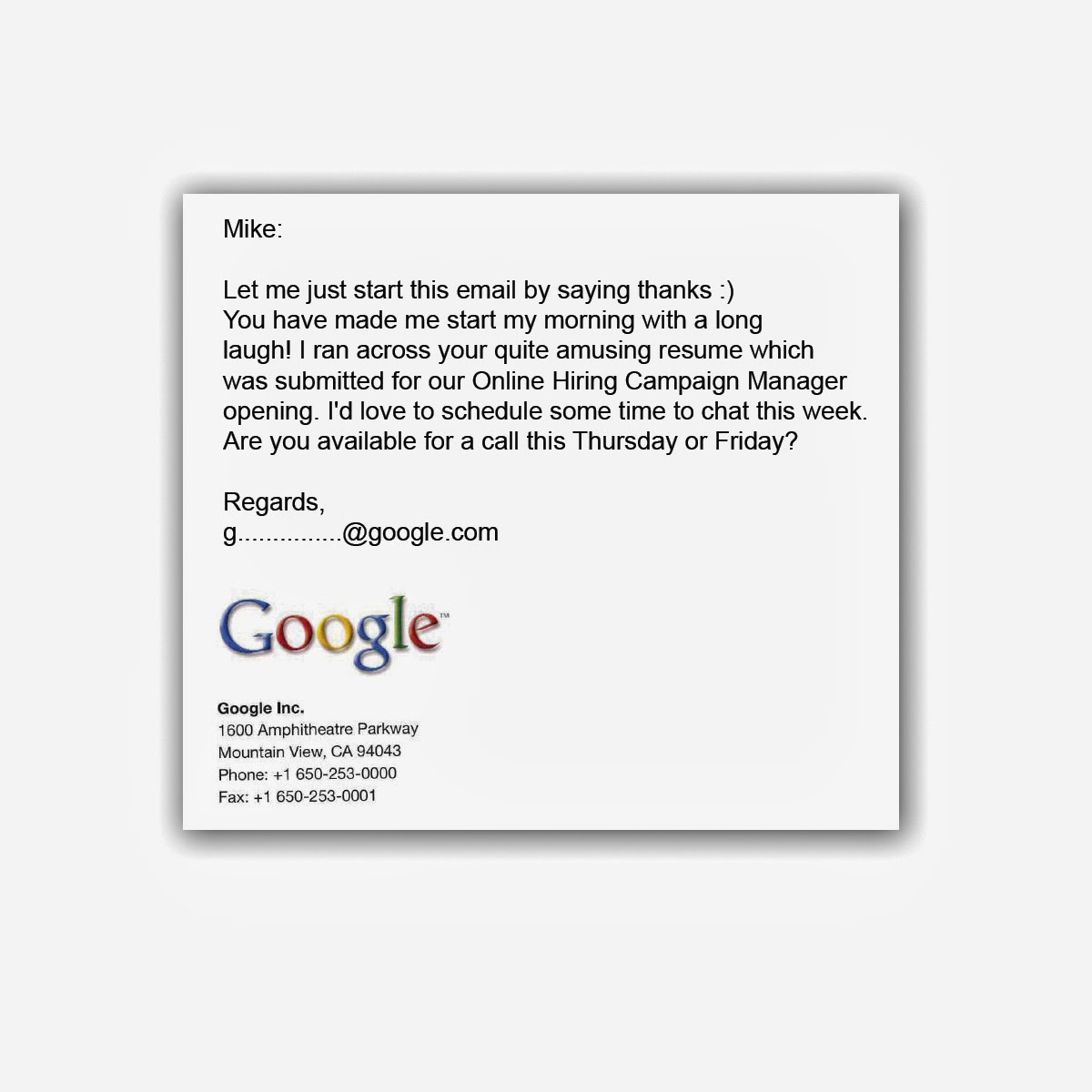 Outside of the Box Mikes Google Resume Mike Kirner Marketing