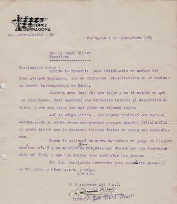 Carta de Josep Miró Martí a Ángel Ribera, 1951