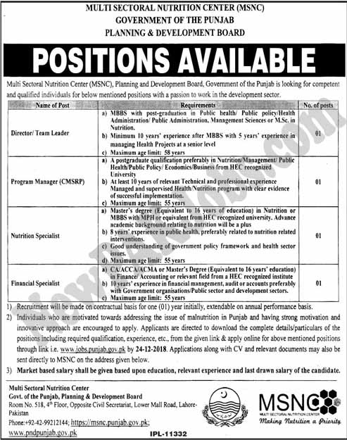 Govt Jobs in Multi Sector Nutrition Center MSNC Dec 2018