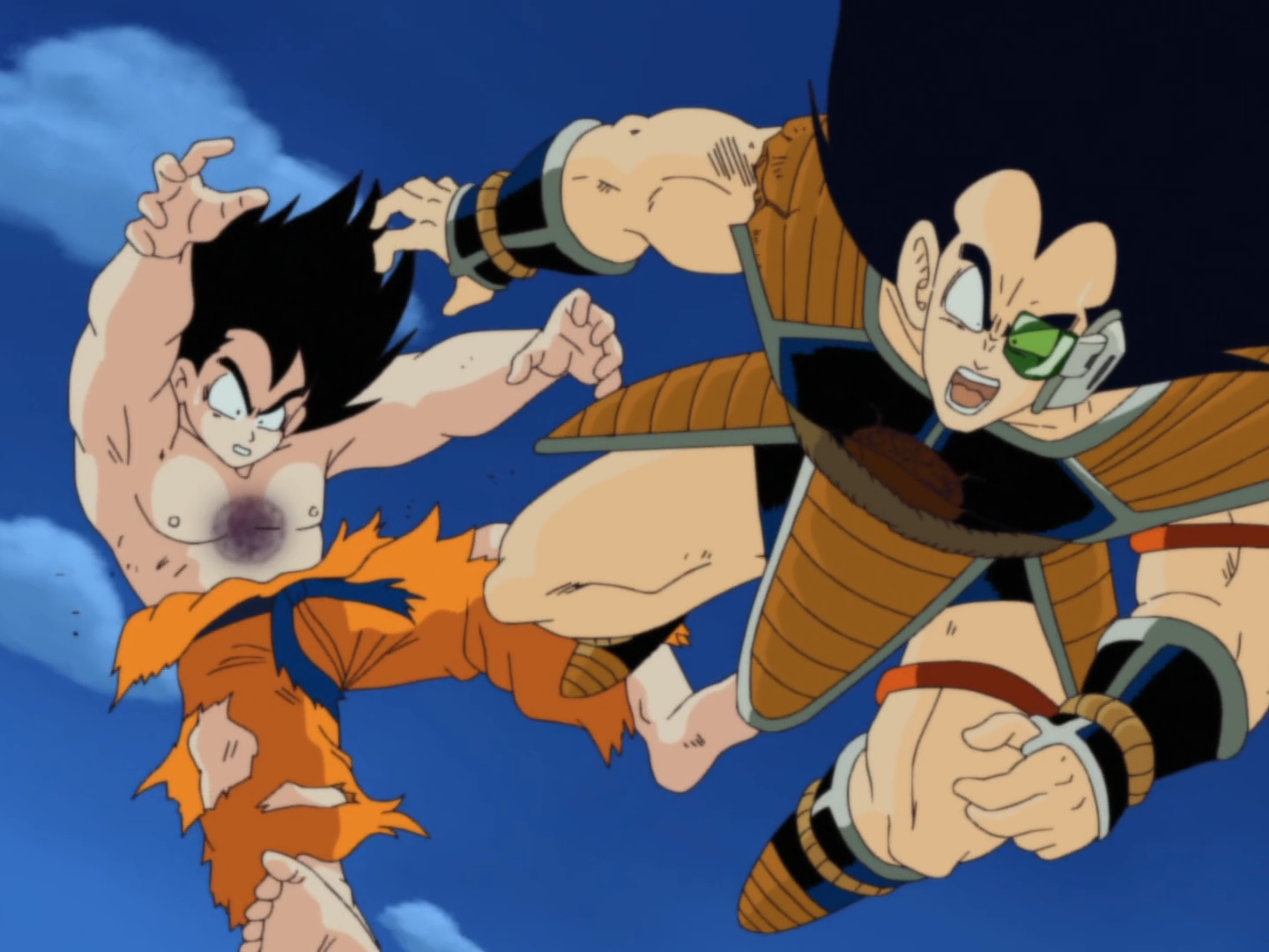 a description of dragonball z as a great cartoon about a man named goku Dragonball z and dragonball gt,  rude fits the description of a super saiyan almost perfectly,  but learned that another saiyan named goku killed him.
