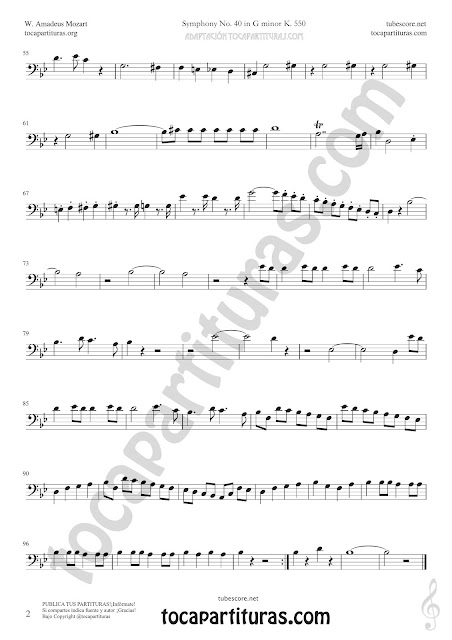 2 Symphony Nº 40 Sheet Music for Trombone and Euphonium Music Scores Bass Clef 8ª PDF and MIDI here