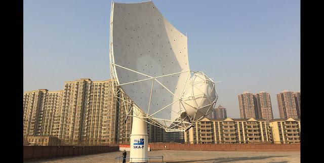 The fully assembled SKA dish prototype – SKA-P – at the CETC54 assembly workshop in Shijiazhuang, China. Credit: SKA Organisation