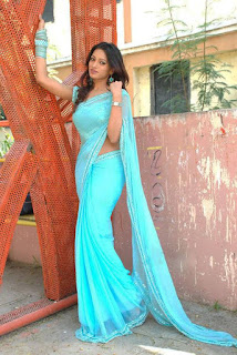 Actress-blue-saree