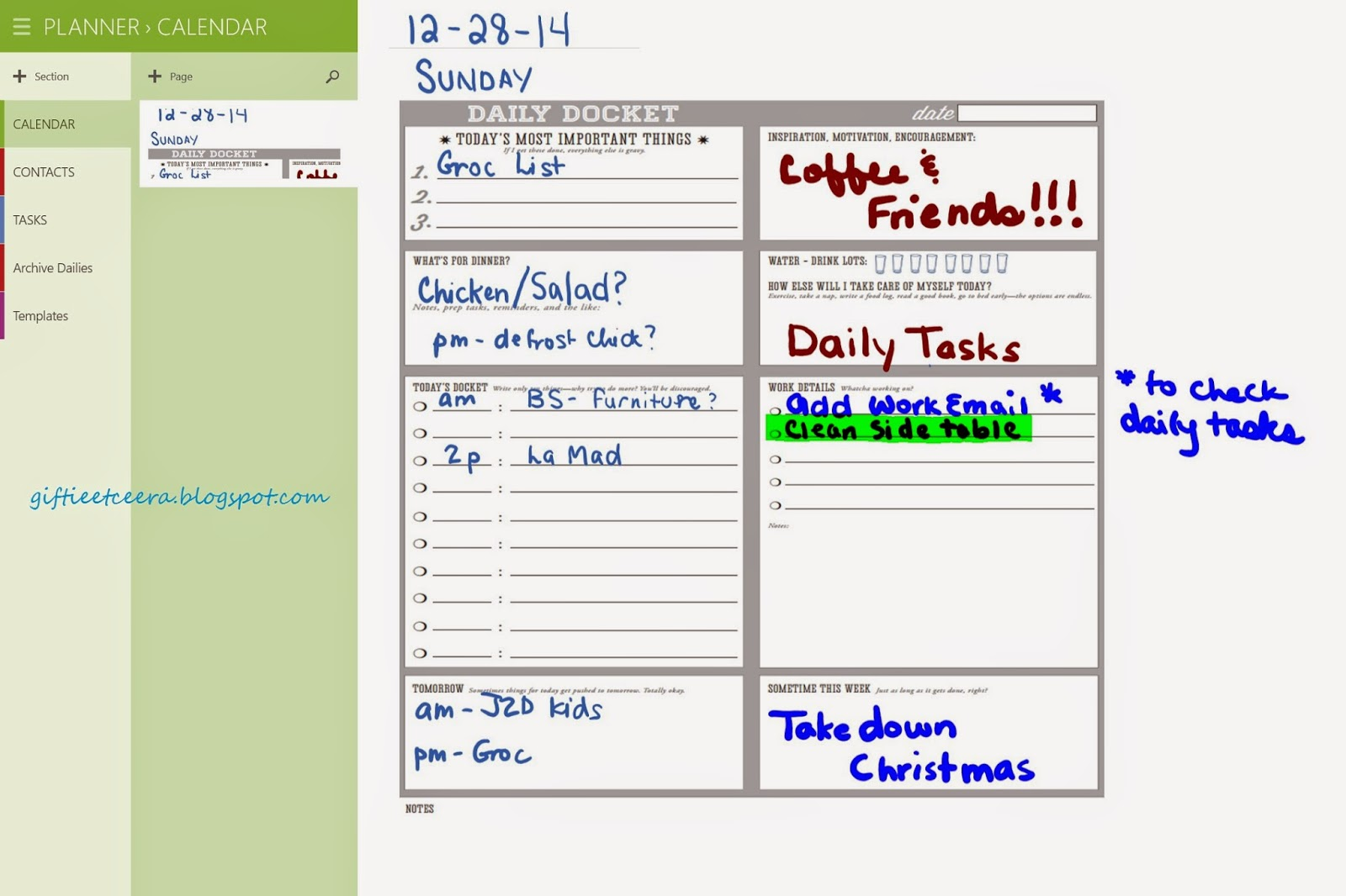 onenote daily journal