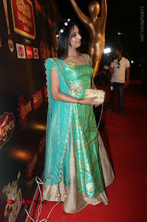 Actress Sanjjanaa Stills in Green Long Dress at Gemini TV Puraskaralu 2016 Event  0075.JPG