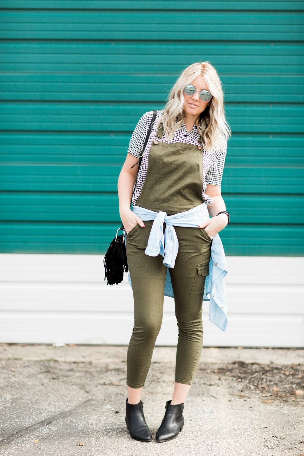 Overalls, Button Up Shirt, Spring Outfit