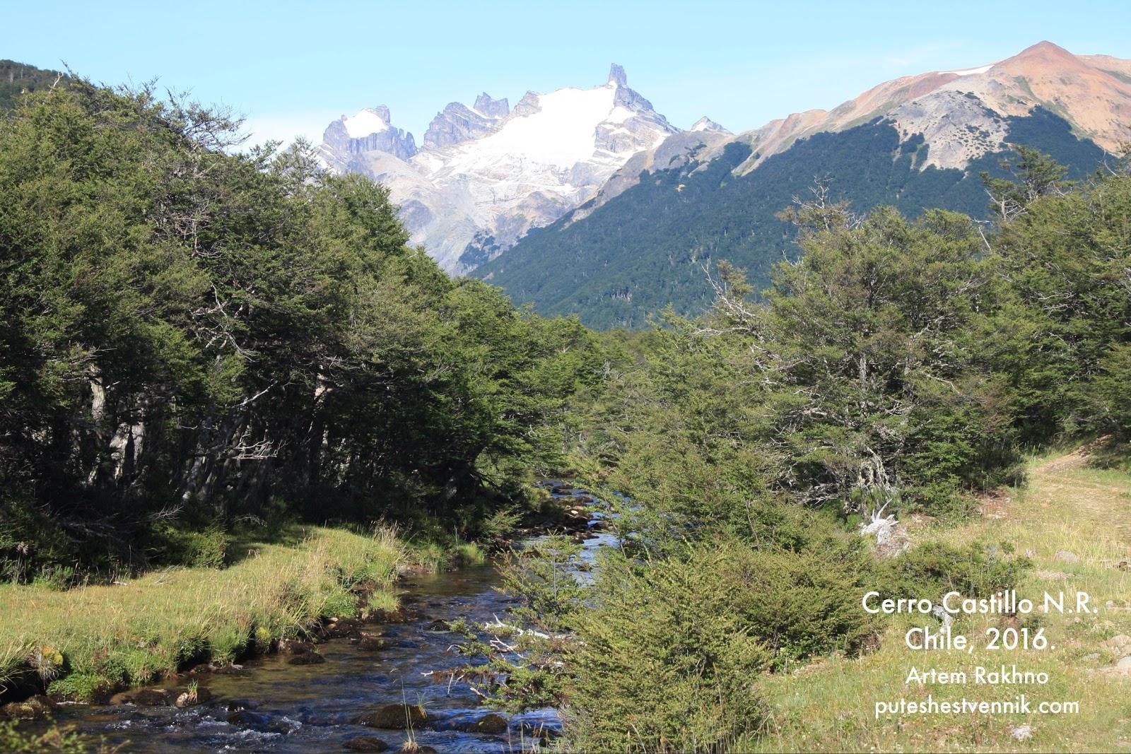 Ручей и горы в Серро-Кастильо