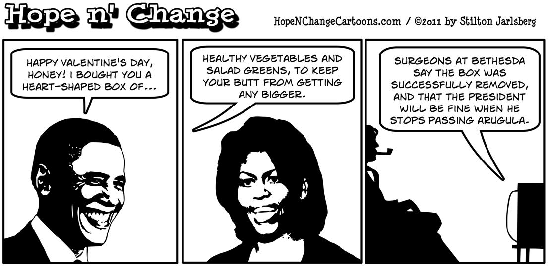 Barack Obama gives Michelle salad for Valentine's Day, hope n' change, hopenchange, hope and change, stilton jarlsberg