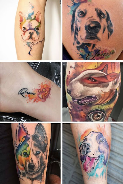 Lovely Watercolor Dog Tattoos