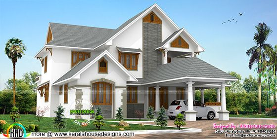 Sloping roof traditional style luxury home