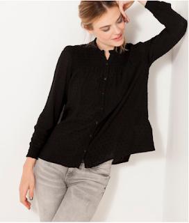 chemise plumetis noire camaieu