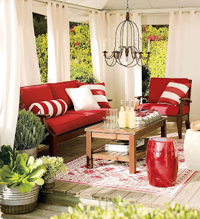 catchy pottery barn patio combined with wooden coffee table cart also red seating plus chandelier