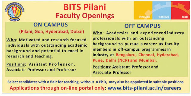 Faculty Vacancy BITS Pilani