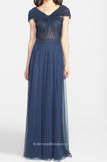 Pretty Navy Blue Long Sheer Tulle Cap Sleeve Bridesmaid Dress