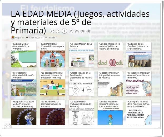 """""""18 Juegos, actividades y materiales para el estudio de LA EDAD MEDIA en 5º de Primaria"""""""