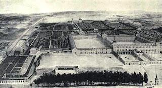 Pintura  del conjunto de edificios con sus enormes plazas amuralladas que formaban el palacio del Buen Retiro, rodwado de jardines.