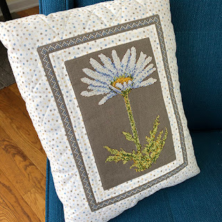 Daisy cross stitch quilted pillow