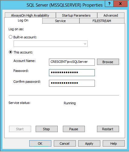 set sql server service account