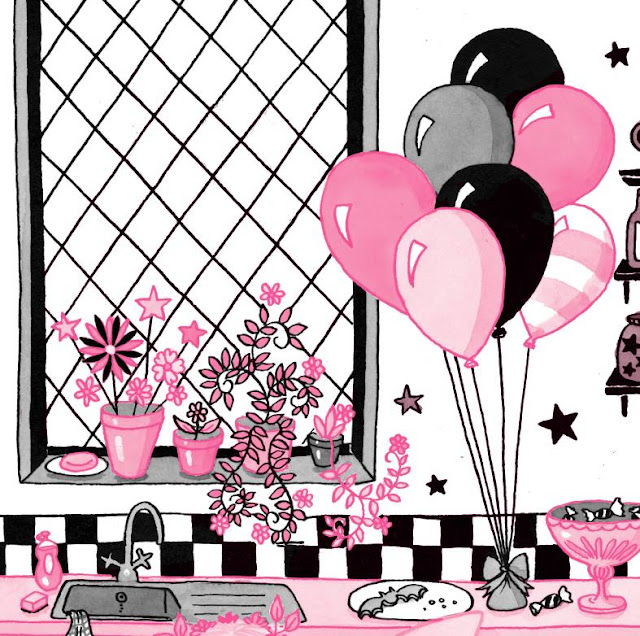 Detail from a final pink-and-black Isadora Moon illustration