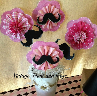 Vintage, Paint and more... small pinwheel flower bouquet made with scrapbook paper, glittered mustaches, tin vase and burlap