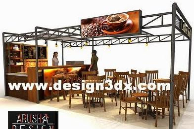 Jasa design booth Tea & Coffee Shop Counter nuansa modern Hi tech exclusive